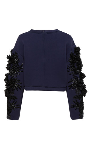 Embroidered Neoprene Crop Top by AQUILANO.RIMONDI for Preorder on Moda Operandi