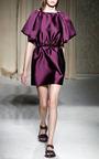Mikado Cape Dress With Button Down Back by AQUILANO.RIMONDI for Preorder on Moda Operandi