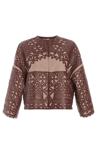 Medium valentino brown barathea dolman sleeve jacket with rubin leather embroidery