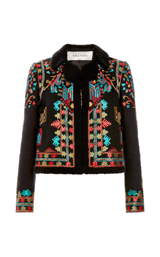 Medium valentino black cotton canvas jacket with multi color embroidery