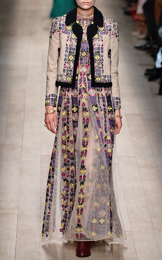 Cotton Canvas Jacket With Multi Color Embroidery by VALENTINO for Preorder on Moda Operandi