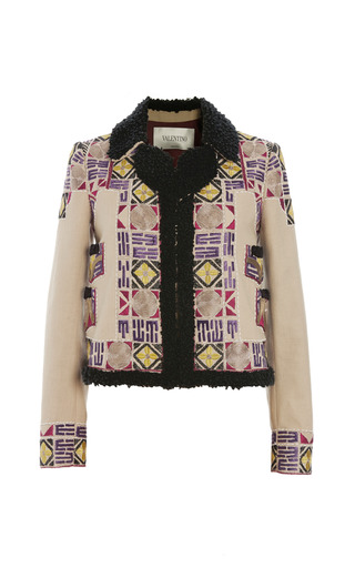 Medium valentino brown cotton canvas jacket with multi color embroidery 2
