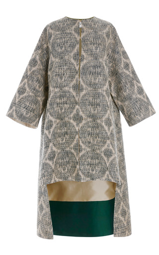 Medium valentino blue tweed grifoni dolman sleeve coat