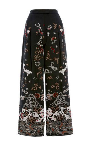 Medium valentino black cotton gabardine black embroidered pleated pant