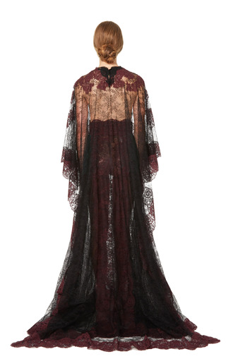 Lace Capsleeve Gown With Lace Cape by VALENTINO for Preorder on Moda Operandi
