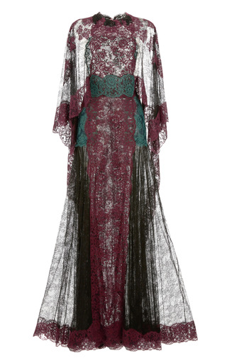 Medium valentino black lace capsleeve gown with lace cape