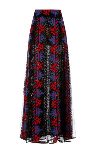 Medium valentino black veletta tribal stripes long skirt with sheer panels