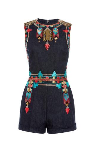 Medium valentino navy denim embroidered sleeveless romper