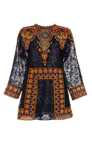 Medium valentino navy afrika guipure long sleeve dress