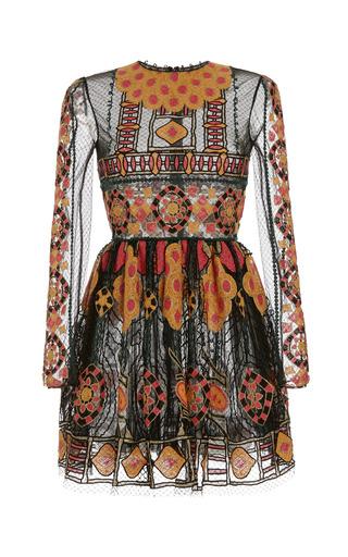 Medium valentino black veletta arabesque long sleeve dress with bambolina skirt