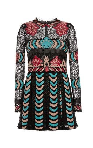 Medium valentino black tulle illusione long sleeve pleated dress