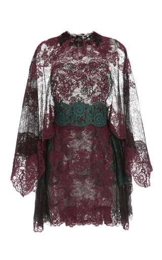 Medium valentino black lace capsleeve dress with lace capelet