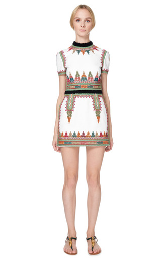 Cotton Canvas Short Sleeve Dress With Embroidery by VALENTINO for Preorder on Moda Operandi