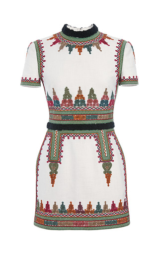 Medium valentino white cotton canvas short sleeve dress with embroidery