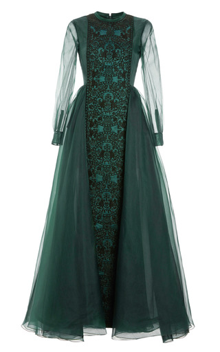 Medium valentino green raso cuir long sleeve embroidered gown with pleated back