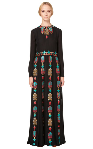 Chiffon Long Sleeve Pleated Long Dress With Embroidery by VALENTINO for Preorder on Moda Operandi