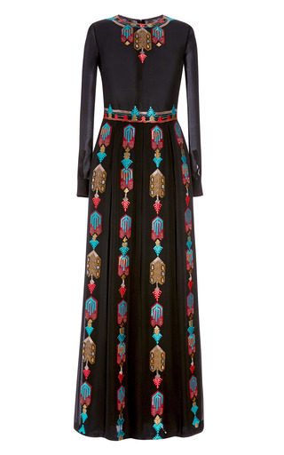 Medium valentino black chiffon long sleeve pleated long dress with embroidery