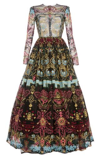 Medium valentino black ornamental lace long sleeve full skirt gown