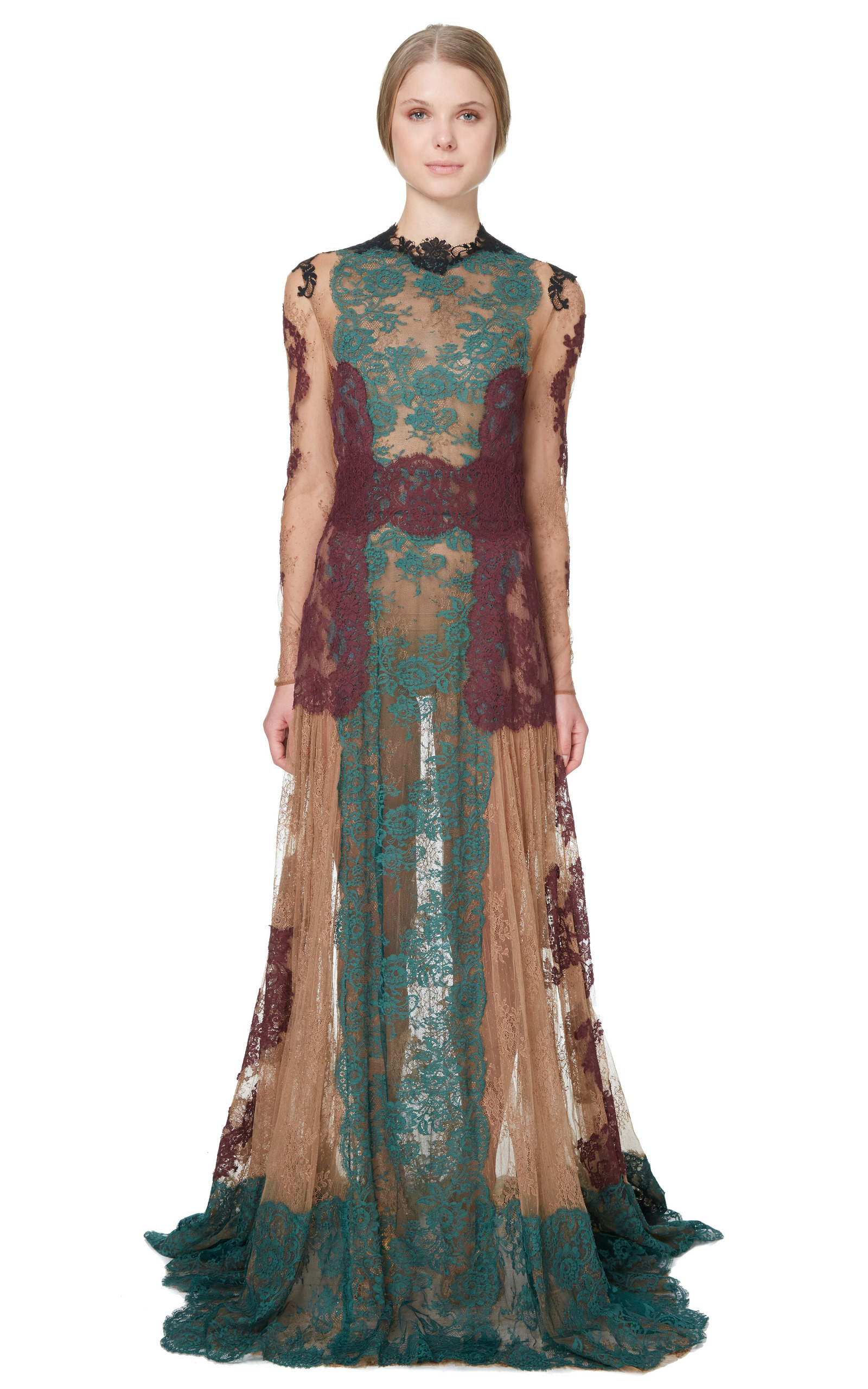 Lace Long Sleeve Aline Gown by Valentino | Moda Operandi
