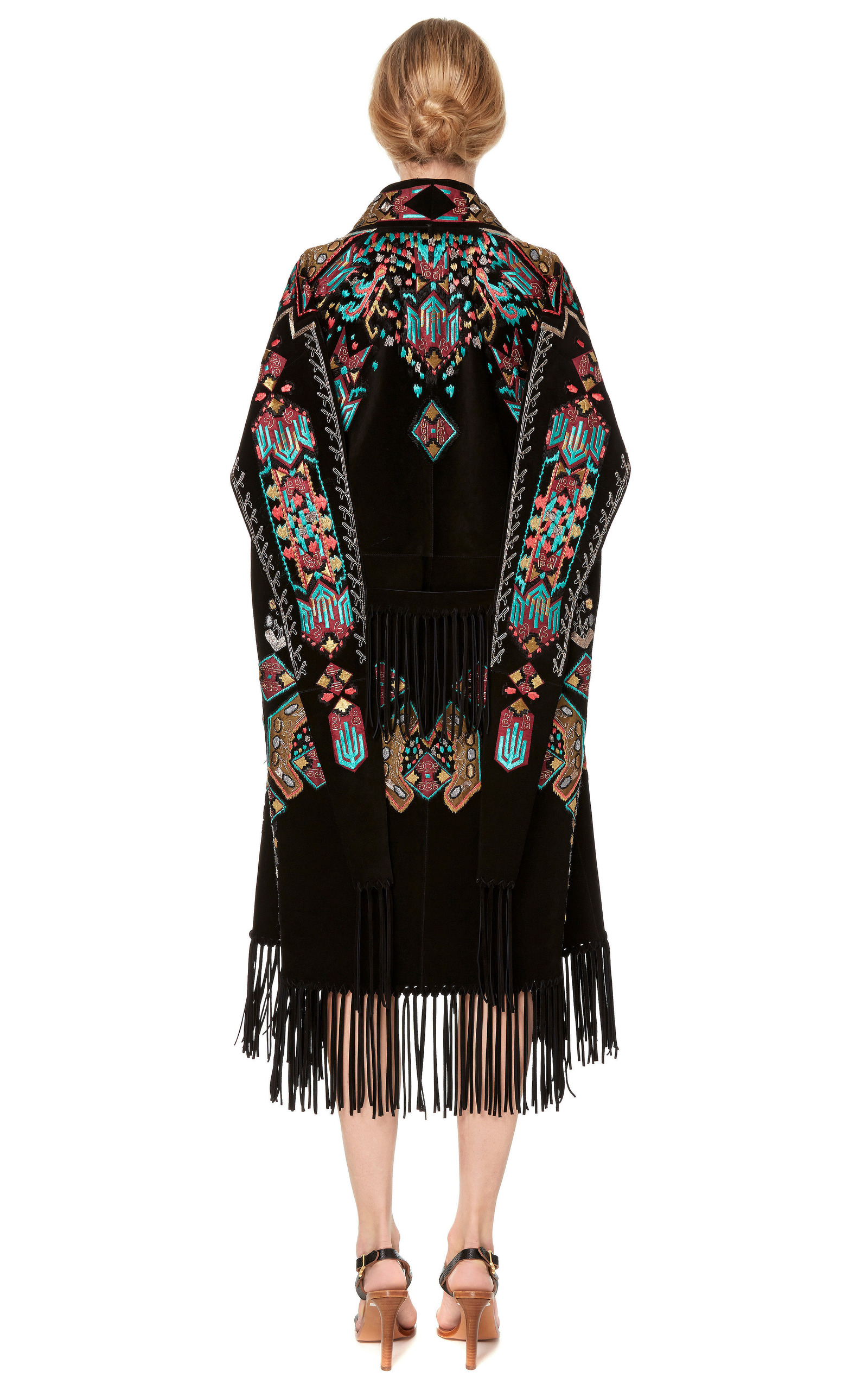 Suede Knee Length Cape With Fringe And Embroidery By