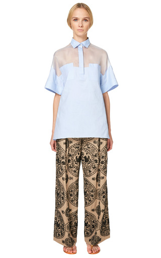 Cotton Organza Short Sleeve Oversized Blouse With Patch Pockets by VALENTINO for Preorder on Moda Operandi