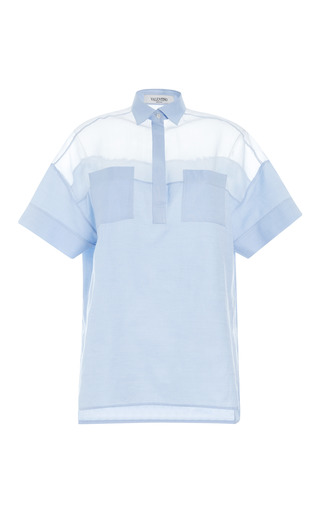Medium valentino blue cotton organza short sleeve oversized blouse with patch pockets