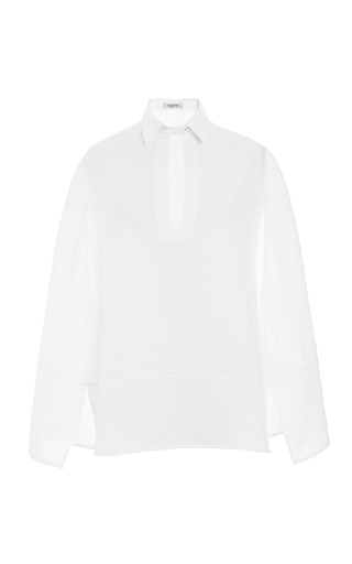 White Cotton Piquet Sleeveless Pull Over Blouse With Cape Details by VALENTINO for Preorder on Moda Operandi