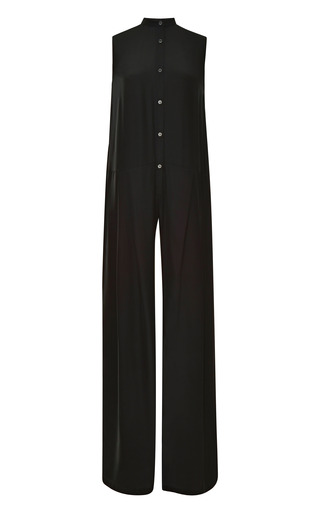 Medium tome black wide leg silk jumpsuit