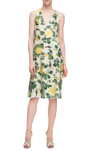 Floral Print V Neck Silk Dress by TOME Now Available on Moda Operandi
