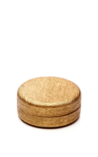 Hand Painted Golden Linen Coasters by AERIN Now Available on Moda Operandi