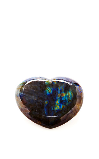 Medium aerin blue hand carved labradorite stone heart
