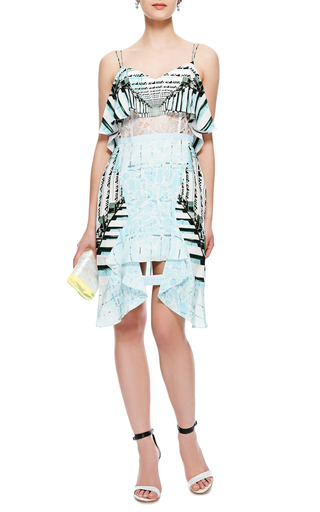 Cascade Printed Silk And Lace Ruffled Dress by PETER PILOTTO Now Available on Moda Operandi
