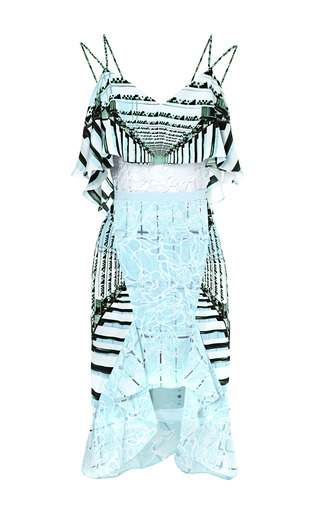 Medium peter pilotto multi cascade printed silk and lace ruffled dress