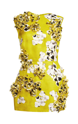 Medium giambattista valli yellow gazar st bouquet long tube tunic