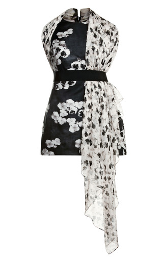 Medium giambattista valli print bouquet gazar scarf dress