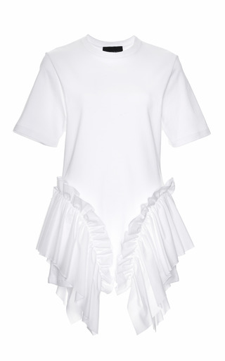 Medium simone rocha white ruffle detail cotton and tulle top