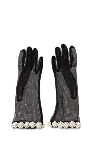 Medium simone rocha black pearl embellished tulle gloves 2
