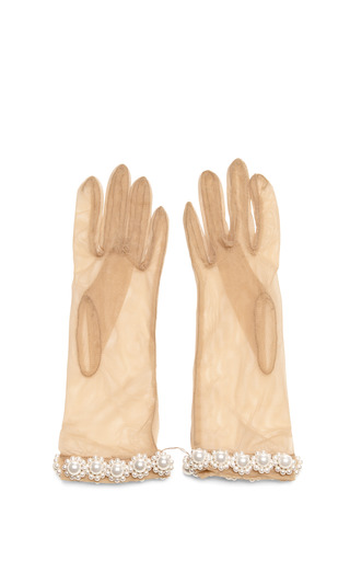 Medium simone rocha nude pearl embellished tulle gloves