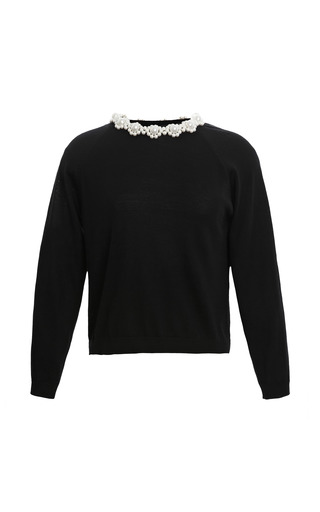 Medium simone rocha black pearl embellished superfine knit sweater