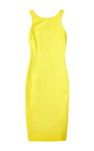 Medium veronica beard yellow cotton scuba racer back sheath dress
