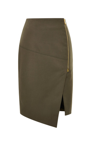Medium veronica beard green compact stretch cotton zip front pencil skirt 2