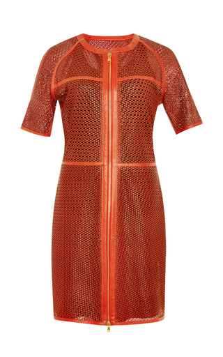 Lasercut Star Leather S/S Zip Front Dress by VERONICA BEARD for Preorder on Moda Operandi