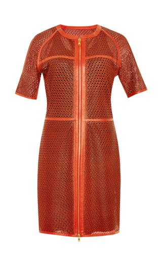 Medium veronica beard red lasercut star leather ss zip front dress