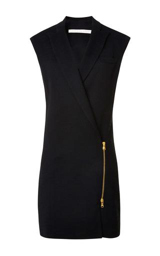 Medium veronica beard black textured suiting zip front blazer dress