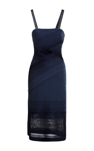 Medium jonathan simkhai blue cross stripe jersey dress
