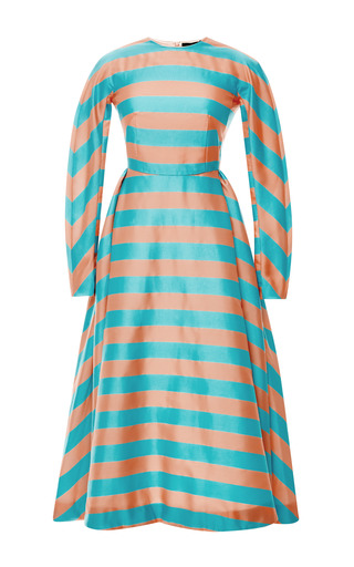 Medium emilia wickstead turquoise mo exclusive annie striped silk midi dress