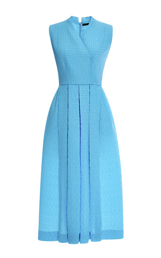 Medium emilia wickstead blue mo exclusive jully pleated matelasse midi dress