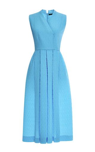 Medium emilia wickstead blue mo exclusive jully pleated matelasse midi dress