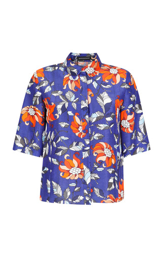 Medium ostwald helgason multi floral print silk dupioni shirt 2