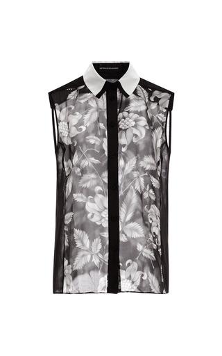 Medium ostwald helgason floral floral print silk dupioni shirt